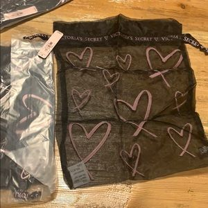 3  sheer Victoria's secret draw string bags